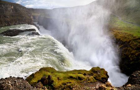Gullfoss  Golden waterfall , most famous waterfall in Iceland