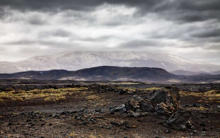 hekla: Landscape with Hekla volcano and dramatic sky  Southern Iceland  Stock Photo