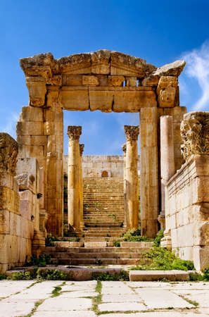 Ancient arch of Artemis Temple in Jerash, Jordan photo