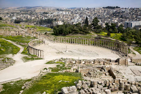 Forum  Oval Plaza  and Colonnade Street in Jerash, Jordan photo
