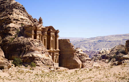 caved: The Monastery in ancient city of Petra, Jordan