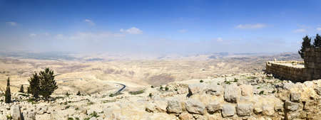 View from Mount Nebo, place of Moses grave, to the valley  Panoramic shotv