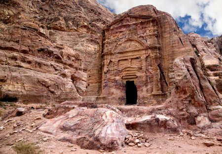 Ancient tomb of Sextius Florentinus in Petra, Jordan Stock Photo