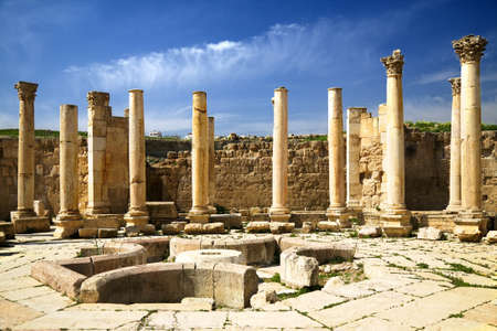 Ancient square with colomns in Jerash, Jordan Stock Photo