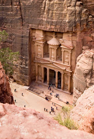 The Treasury. Ancient city of Petra carved out of the rock, Jordan Stock Photo