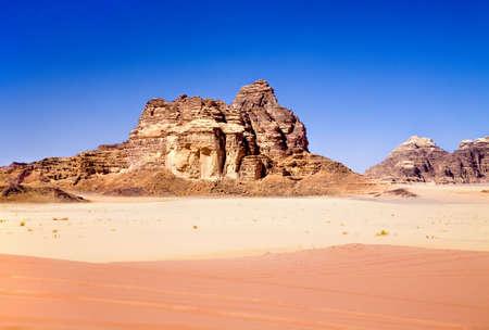Red and yellow sands in Wadi Rum desert, Jordan Stock Photo