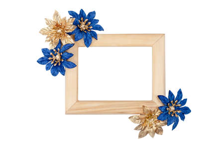 Wooden photo frame decorated with blue flowers isolated on white Stock Photo