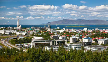 Aerial view of Reykjavik, capital of Iceland, from the top of Perlan