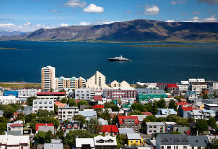 Aerial view of Reykjavik, capital of Iceland, from the top of the Hallgrimskirkja church  photo