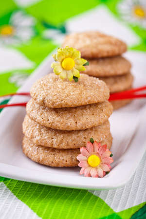Homemade ginger cookies on white plate photo
