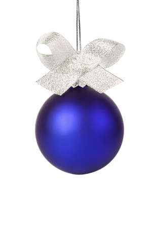 Blue christmas ball with silver ribbon isolated on white Stock Photo