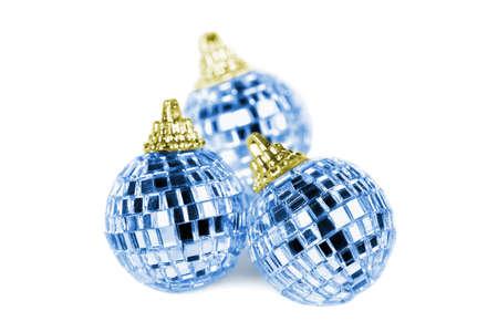 reflective background: Three mirror disco balls isolated on white