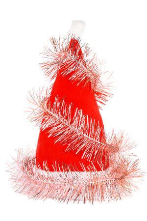 st nicholas: Santas red hat with pink tinsel isolated on white Stock Photo