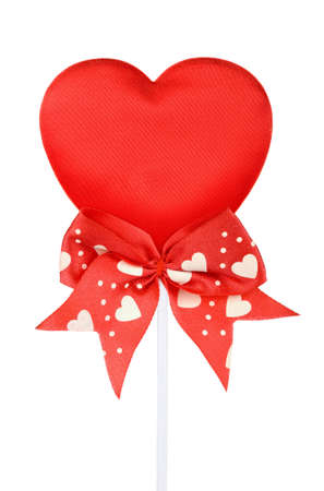 Valentines red heart on a stick with red ribbon  isolated  photo