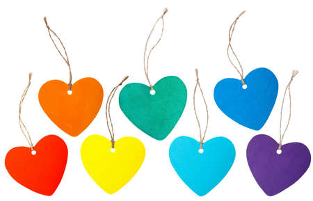 Set of rainbow colored paper hearts with rope isolated on white photo