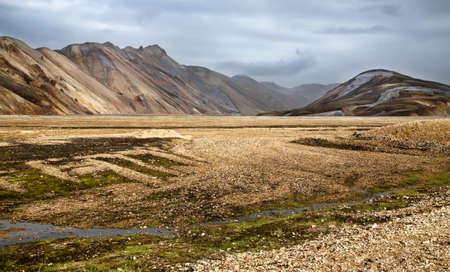 The colorful rhyolite mountains of Landmannalaugar in Fjallabak national reserve, Iceland