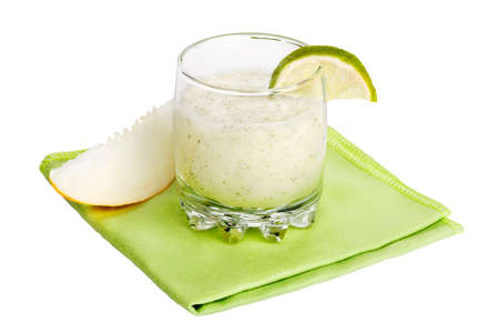 Melon and lime coctail isolated on white  photo