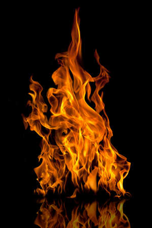 Fire flames with reflection on black background Stock Photo - 22733350