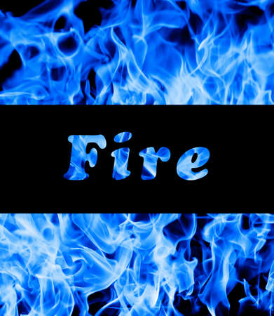 l petrol: Closeup of blue fire flames and space for text