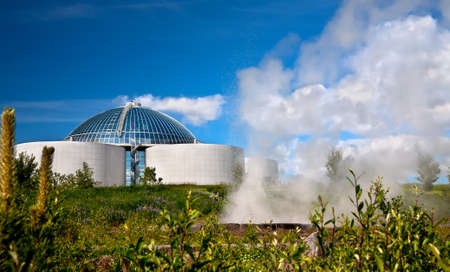 The Perlan and  small geyser in Reykjavik, Iceland  Stock Photo