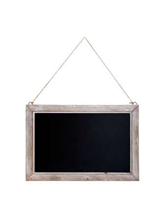 Old Blackboard With Wooden Frame Hanging On A Rope. Isolated.. Stock ...
