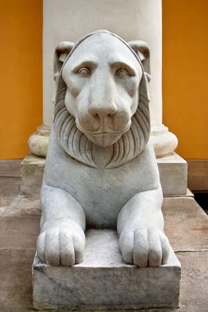 White marble lion sculpture in the country estate Arkhangelskoye