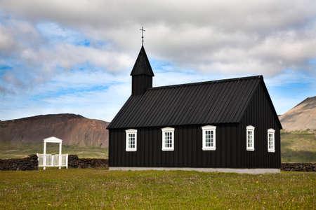 lutheran: Typical Icelandic Lutheran wooden church in Budir, Snaefellsnes peninsula Stock Photo
