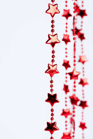 Christmas border. Holiday red stars background with space for text Stock Photo