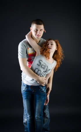 Young couple in passionate embrace Stock Photo