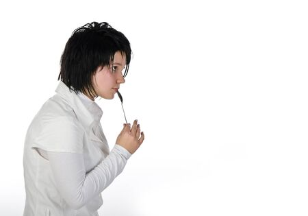 Bright black and white portrait  L death note cosplay