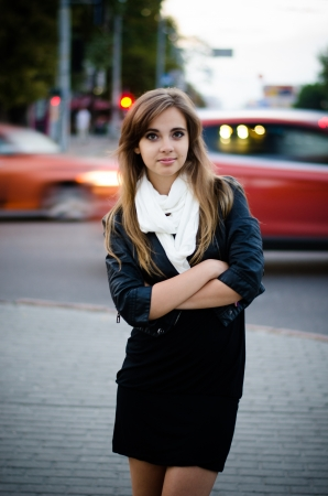uppers: Urban portrait of a beautiful brunette Stock Photo