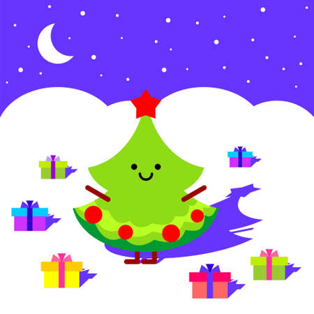 Christmas tree in the night  vector version