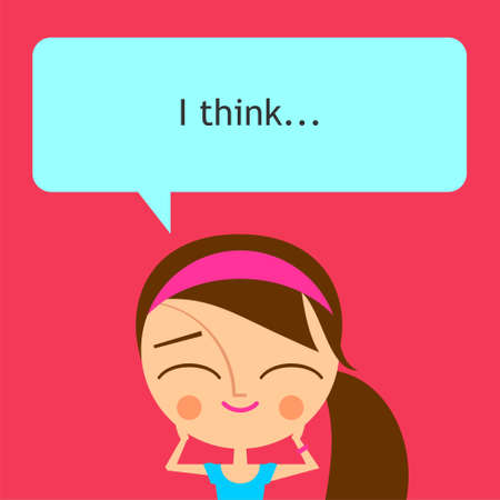 Cute girl with speech bubble on pink background (vector version)