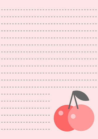 Notepad sheet with cherries  Illustration