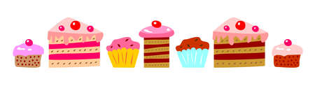Cakes and cupcakes Illustration