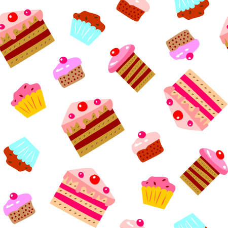 Cakes and cupcakes seamless pattern Illustration