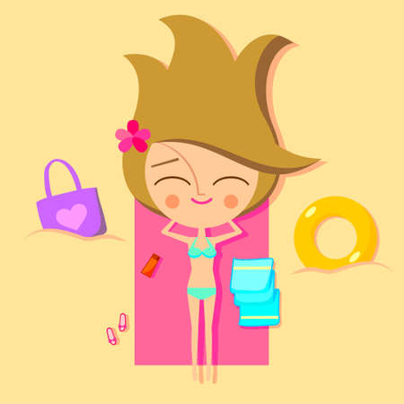 playa caricatura: Linda chica en la playa (versi�n vector) Vectores