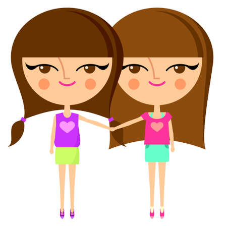 Best friends. Cute girls holding hands (vector version) Vector