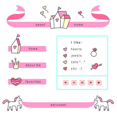 Кнопки: Принцесса тему веб-элементы (вектор версия) Иллюстрация