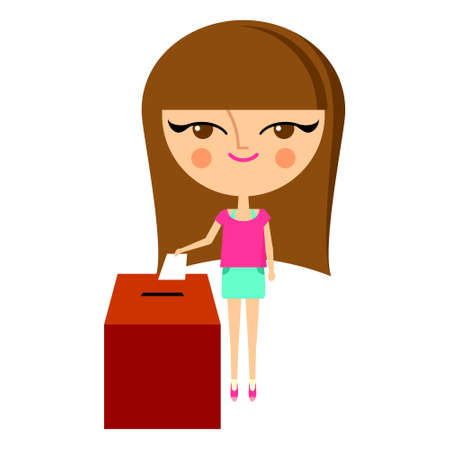 Cute girl putting her ballot into the vote box (vector version) Stock Vector - 15568128
