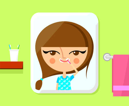 Cute girl brushing her teeth  Vector