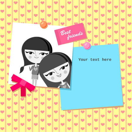 Greeting card design with best friends photo  Vector