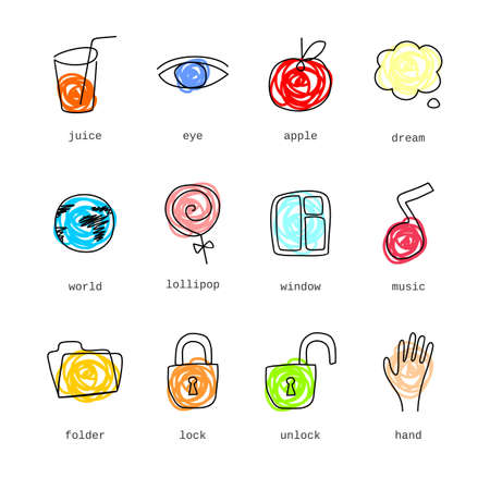 Doodle icons set part 2  Illustration