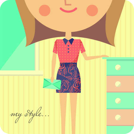 Girl dressed in fashionable clothes standing in her room Vector