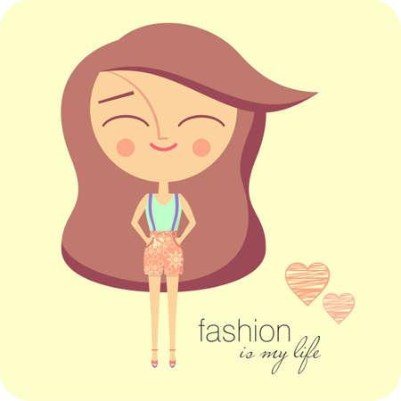 long hair brunette: Fashion girl