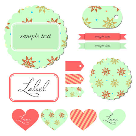 Set of vintage cards, labels and tags   Illustration