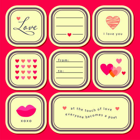 Valentine s day stickers set    Vector