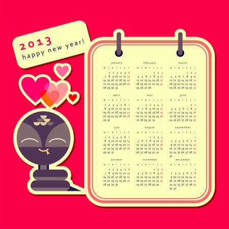 Calendar 2013 with snake  Stock Vector - 15857335