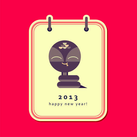 New year card with snake  Illustration