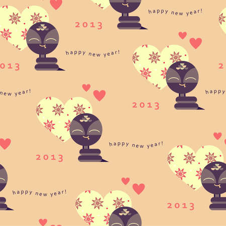 New year seamless pattern with snake  Vector